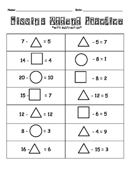Missing Addend Practice with Subtraction
