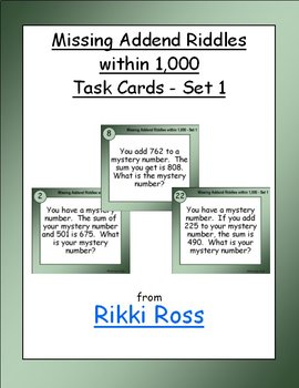Missing Addend Riddles within 1,000 (Set 1) Addition Task Cards