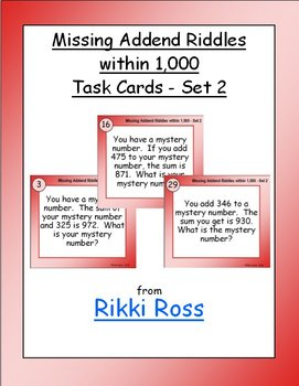 Missing Addend Riddles within 1,000 (Set 2) Addition Task Cards