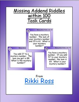 Missing Addend Riddles within 100 Addition Task Cards