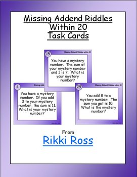 Missing Addend Riddles within 20 Addition Task Cards