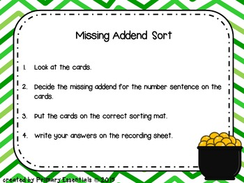 Missing Addend Sort (St. Patrick's Day theme)