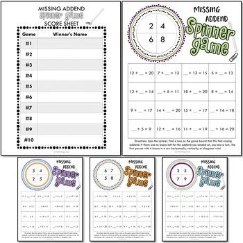 Missing Addend Printable Math Spinner Games