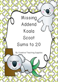Missing Addend Koala Scoot - Sums to 20