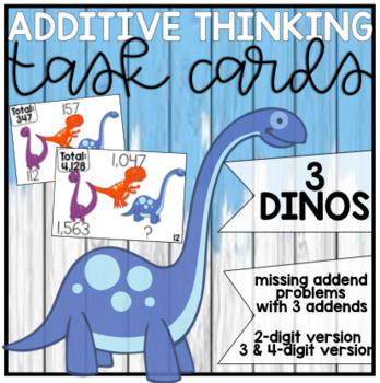 Missing Addend Task Card: 3 Dinos