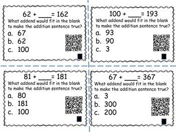 Missing Addend Task Cards (QR codes)