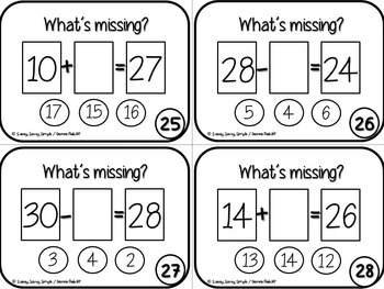Missing Addend Task Cards {CCSS Aligned}