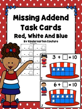 Missing Addend Task Cards Red, White And Blue (Sums that equal 10)