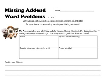 Missing Addend Word Problems
