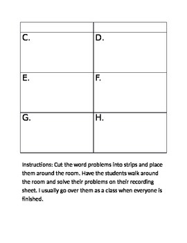 Missing Addend Word Problems (I Spy, Task Cards, Worksheet)