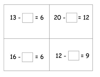 Missing Addend Word Problems Matching Task Cards