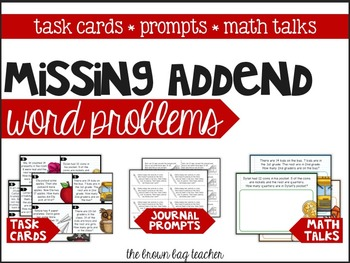 Missing Addend Word Problems: Task Cards, Notebook Prompts, Math Talks