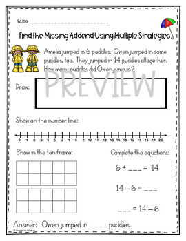 Missing Addend Word Problems and Ten Frames - Spring FREEBIE
