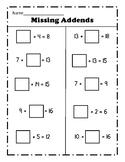 Missing Addend Worksheet