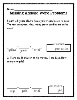 Missing Addend Worksheet Pack