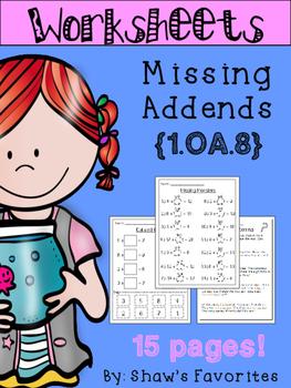 Missing Addend Worksheets {1.OA.8}