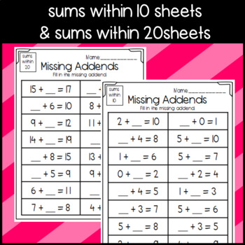 Missing Addend Worksheets: Dominoes, Part- Part- Whole, and Equation Sheets