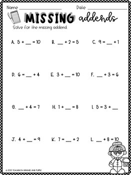 Missing Addend Worksheets First Grade by Teaching in ...