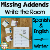 Missing Addend Write the Room ~ Spanish and English