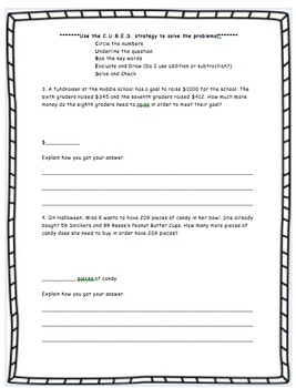 Missing Addend and CUBES Word Problems Worksheet