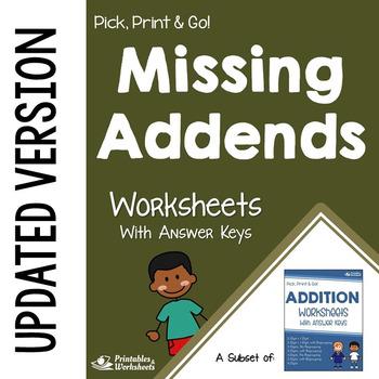Missing Addends Worksheets Subtraction Addition Practice Sheets