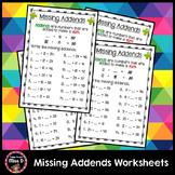 Missing Addends Worksheets