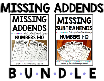 Missing Addends and Subtrahends Bundle