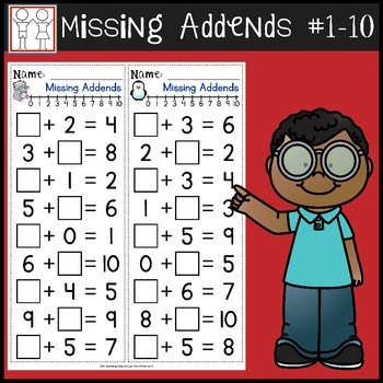 Missing Addends Worksheets by Catherine S | Teachers Pay ...