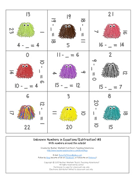 Missing Addends Subtraction 0-20 Math Center Game   Missing Addends Activities