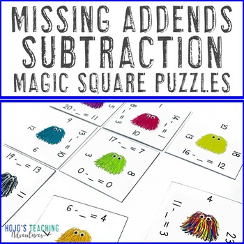 Missing Addends: Subtraction 0-20 Math Center Game