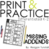 Print and Practice Missing Addends