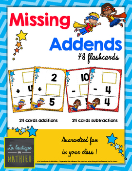 Missing Addends - 48 Flashcards [Math Center] [Game]