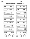 Missing Addends / 8 Math Worksheets / Sums up to 20