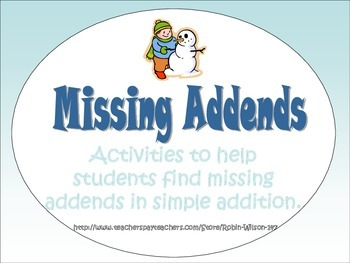 Missing Addends Activities Common Core