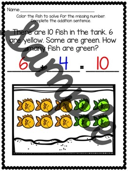 Missing Addends Task Cards and Worksheets- Addition Story Problems- (CCSS)
