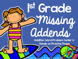 Missing Addends Task Cards and Worksheets- Addition Story