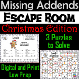 Missing Addends Addition and Subtraction Activity: Christmas Escape Room Math