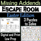Missing Addends Addition and Subtraction Activity: Easter Escape Room Math