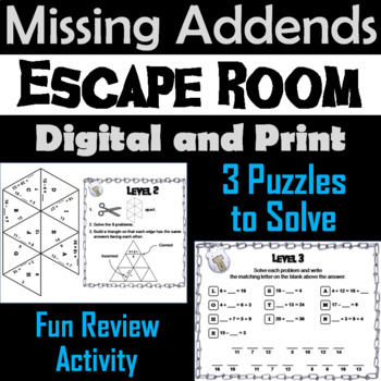 Missing Addends Addition and Subtraction Activity: Escape Room Math