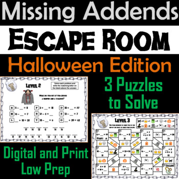 Missing Addends Addition and Subtraction Activity: Halloween Escape Room Math