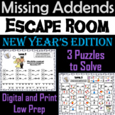 Missing Addends Addition and Subtraction Activity: New Year's Escape Room Math