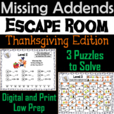 Missing Addends Addition and Subtraction Activity: Thanksgiving Escape Room Math