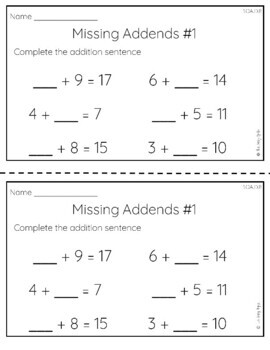 Addition and Subtraction Worksheets | Missing Addends | Common Core Aligned