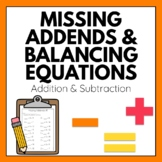 Missing Addends Worksheets: Addition and Subtraction *Comm
