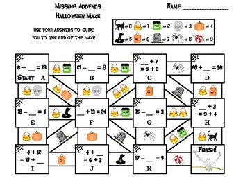 Missing Addends Addition and Subtraction Game: Halloween Math Maze