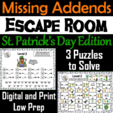 Missing Addends Addition and Subtraction: St. Patrick's Day Escape Room Math
