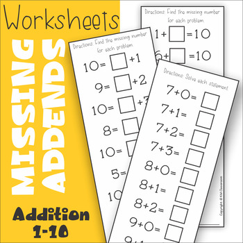 Missing Addend Addition to 10 Worksheets