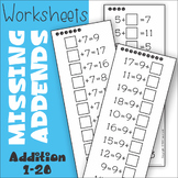 Missing Addend Addition to 20 Worksheets