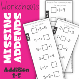 Missing Addend Addition to 5 Worksheets
