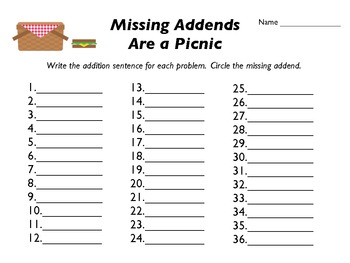 Missing Addends Are a Picnic - 1.0A.8